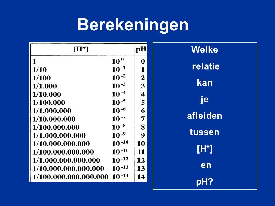 Berekeningen Welke relatie kan je afleiden tussen [H+] en pH